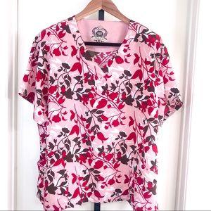 Dickies Black Label Womens 2X Floral Scrub Top 🌹